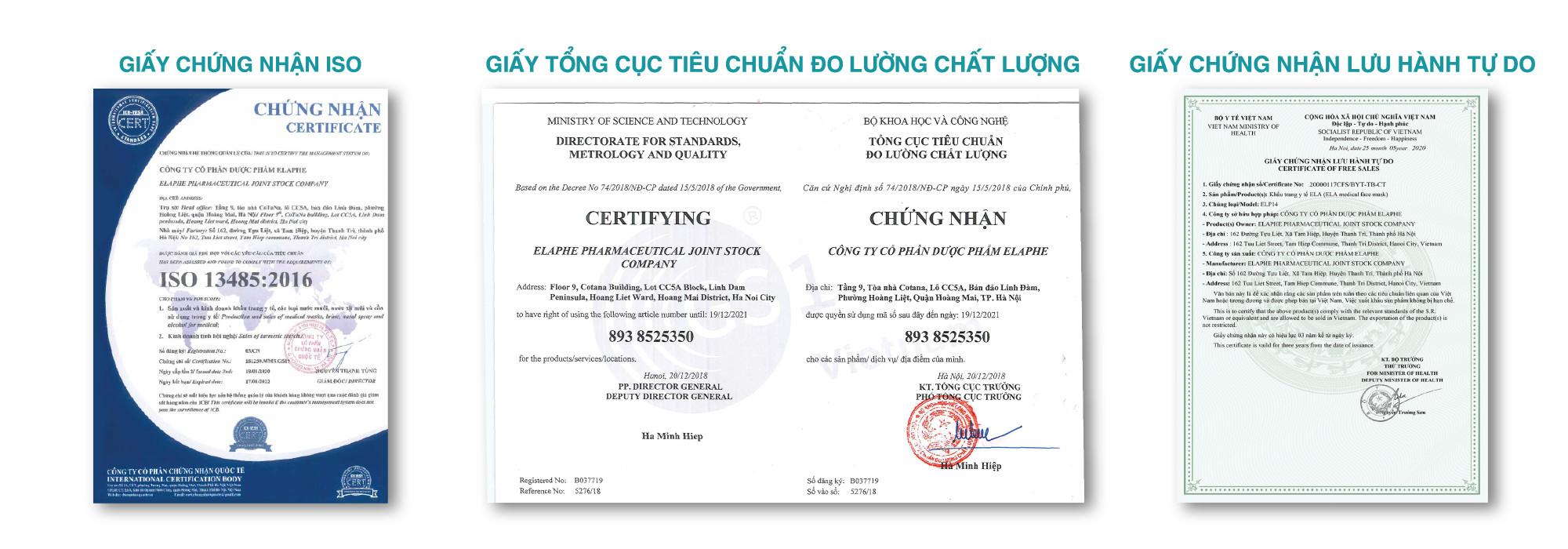 giấy chứng nhận elaphe